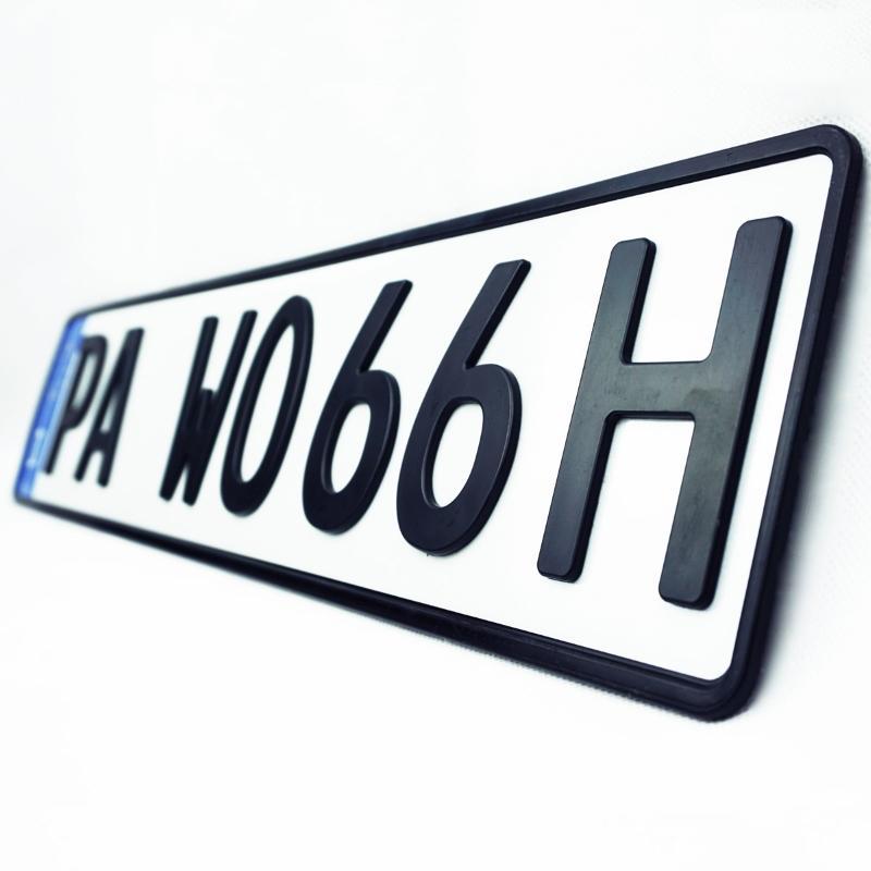 3D H-Kennzeichen Matt 520 mm