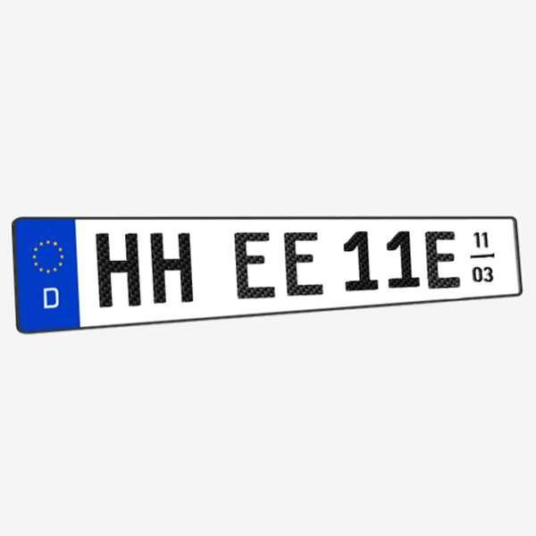 3D E-Kennzeichen mit Saison Carbonoptik Hochglanz 520 mm