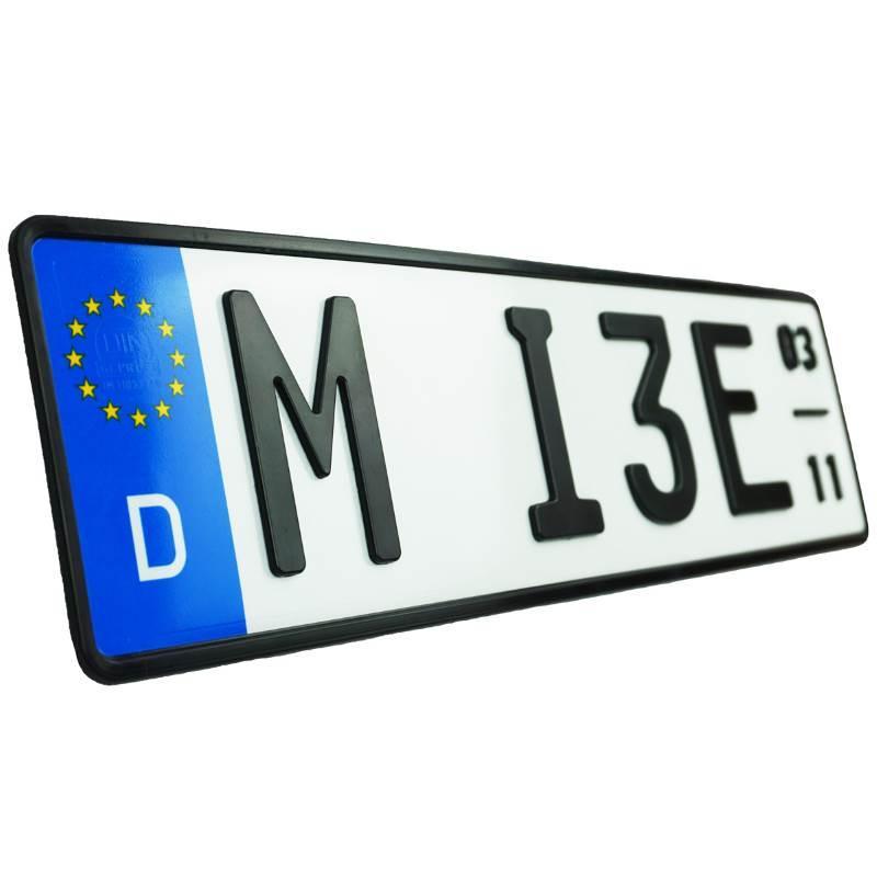 3D E-Kennzeichen mit Saison Matt Kurz