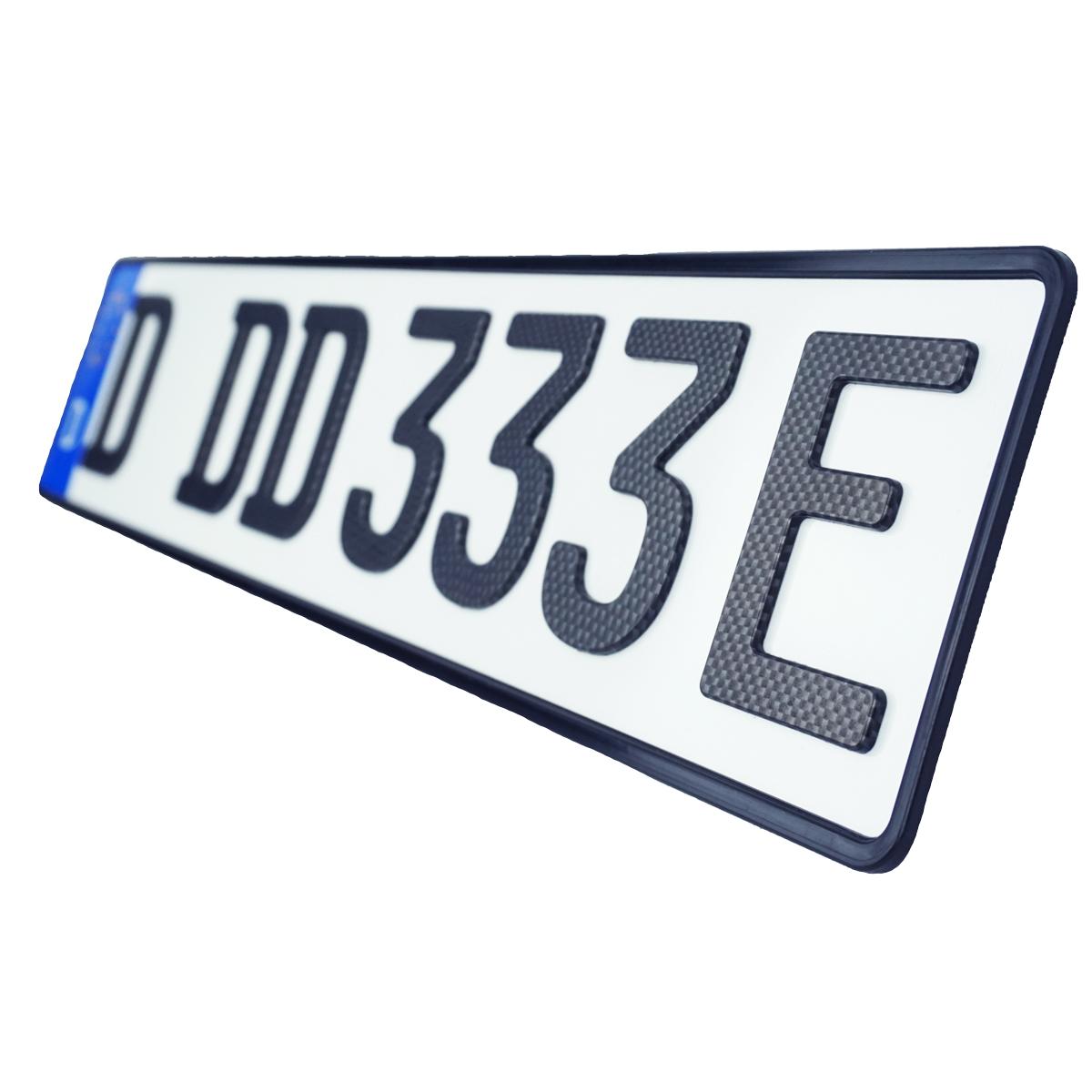 3D E-Kennzeichen Carbonoptik Matt 520 mm