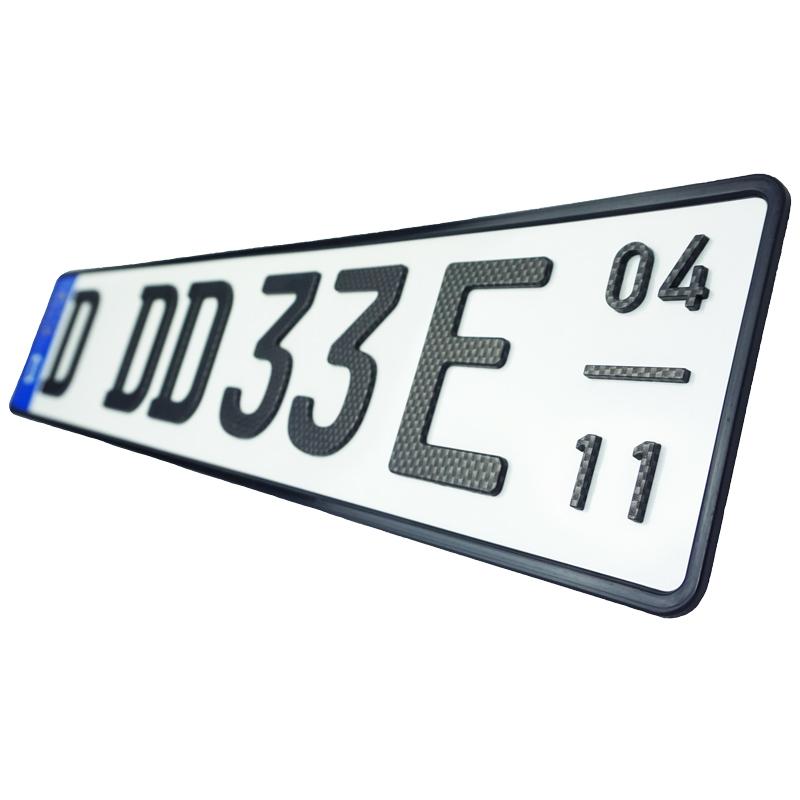 3D E-Kennzeichen mit Saison Carbonoptik Matt 520 mm